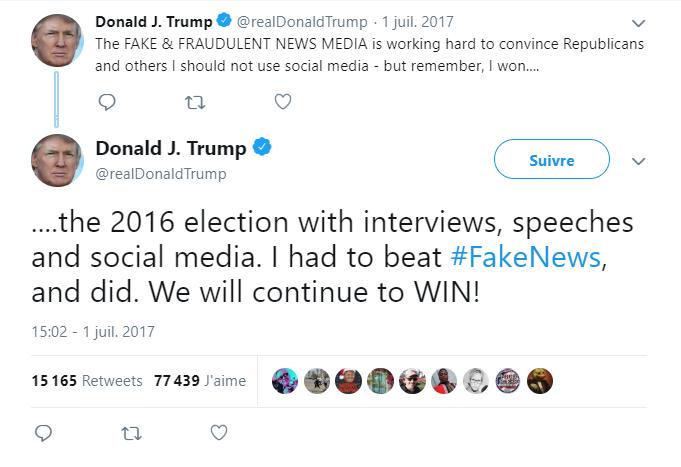 Capture d'écran compte Twitter Trump parlant des réseaux sociaux grâce à qui il a gagné