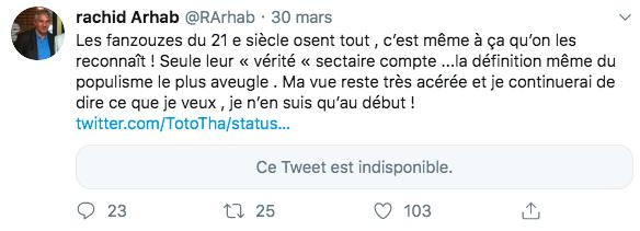 Tweet de Rachid Arhab le 30 mars 2019, avant la clôture de son compte Twitter