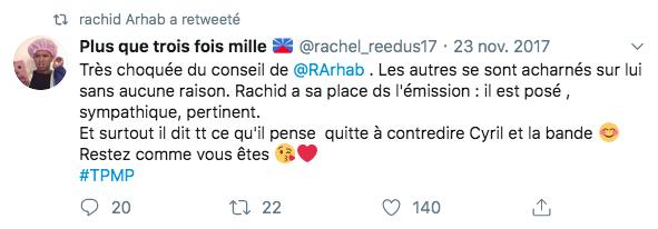 Un internaute retweeté par Rachid Arhab au sujet de son « Conseil de classe ».