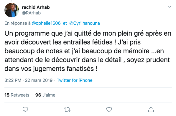 """""""Les entrailles fétides"""" Tweet de Rachid Arhab sur son départ de l'émission TPMP."""