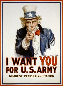 """Affiche de propagande pensée par Bernays pour l'entrée en guerre des Etats-Unis dans la Première Guerre Mondiale. L'Oncle Sam pointe du doigt avec l'inscription """"I want you for U.S. Army""""."""