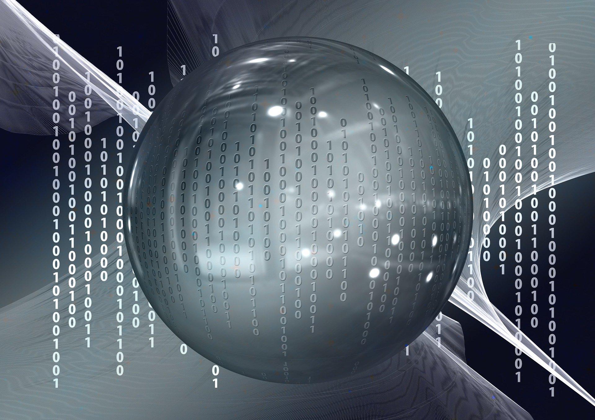 Une boule de crystal en fond de lignes de code