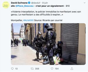 Manifestant violement immobilisé au sol par des CRS lors de l'Acte30 des gilets jaunes, le 08/06/2019 à Montpellier